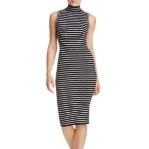 Michael Kors Striped Ribbed Stretch Knit Dress
